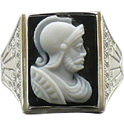 Sterling Hardstone Cameo Mans ring Circa 1920s