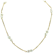 Circa 1975 Keshi pearl and 14kt gold chain necklace