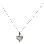 Circa 1995 1/2 CTW 14kt white gold diamond heart pendant