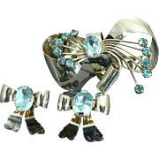 Sterling  Retro Modern brooch and earring set with blue stones circa 1940