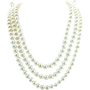17 inch long Cultured Akoya pearl 3 strand Necklace 14kt gold clasp