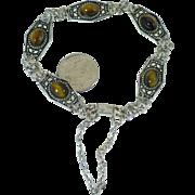 Vintage Sterling and tigers eye bracelet