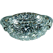Platinum and diamond vintage band Hand made