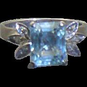18 KT white gold Aquamarine and diamond ring