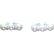 14kt white gold custom made Akoya cultured pearl and diamond earrings