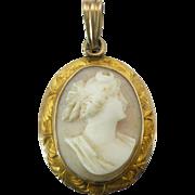 Dainty Goddess Diana cameo pendant