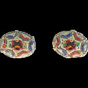 Vintage Micro mosaic non pierced earrings