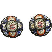 Vintage round Micro Mosaic clip earrings