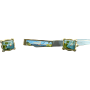 Vintage reverse intaglio painted crystal cufflink and tie bar set