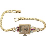 Art Deco 14kt Rose gold watch by Crawford