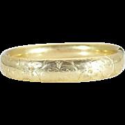 Vintage Hand engraved rose rolled gold bangle