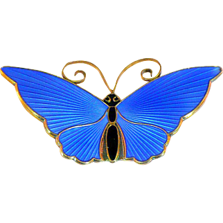 Vintage DA Norway transparent enamel Butterfly pin sterling