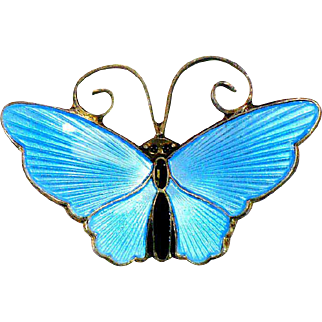 Vintage pale blue sterling DA butterfly pin