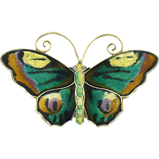Large David Anderson Enamel Butterfly pin sterling 1A