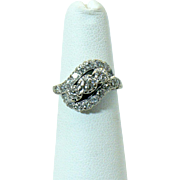 Vintage 14kt White gold and diamond  bypass ring
