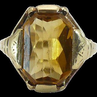 Vintage 10KT Citrine gold ring
