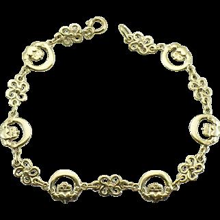Vintage Irish Claddagh bracelet 9KT gold