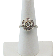 Vintage 14KT white gold diamond ring Circa 1960