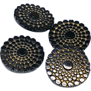 Vintage pressed glass buttons with gold high lights