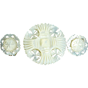 Vintage handcarved Mother of pearl Brooch and clip earrings