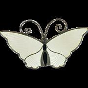 Sterling Vintage White enamel butterfly brooch 1 1/4 inch