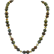 22 Inch Brown Freshwater pearls with Citrine rondelles and 14 KT yellow gold clasp