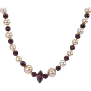 20 inch Natural Garnet and Apricot Freshwater pearl necklace 14 KT yellow gold clasp
