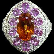 Spessartite Garnet pink sapphire and diamond ring in Sterling