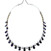 19 Inch Natural Amethyst and Freshwater Pearl Necklace