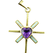 Vintage 14 KT gold Opal and Amethyst cross