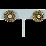Vintage filigree Cultured pearl screw on earrings