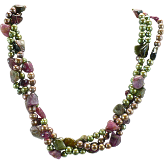 Sterling Tourmalines and Freshwater pearl torsade