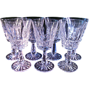 Six 6 2/4 inch Waterford 10 oz water goblets
