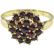 Antique Bohemian garnet ring 10KT gold