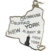 Vintage enameled New York state charm sterling