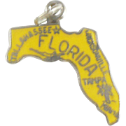 Vintage sterling yellow enamel Florida charm
