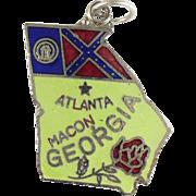 Vintage Sterling enameled Georgia state charm showing old flag