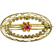 Victorian 10 Kt rose and green gold pin