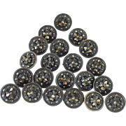 Vintage lot of twenty one 16.5 mm metal bright cut buttons