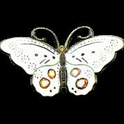 Sterling enamel Hroar Prydz 2.5 inch butterfly brooch