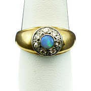 Vintage Gents opal and diamond pinky ring