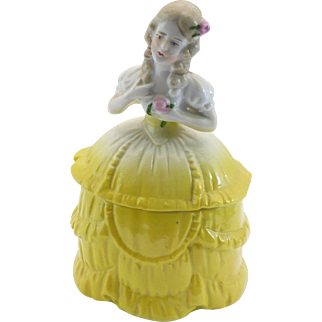 blonde dresser doll in yellow impressed Germany