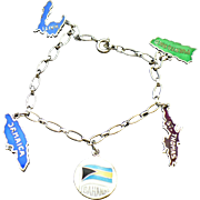 Vintage sterling charm bracelet with sterling enameled island charms