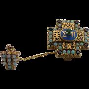 Vintage 14 kt gold Sigma Pi natural opal and garnet pin set