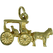 "Vintage 14 Karat  gold Carriage and horse stamped "" The Greenbrier White Sulfur Springs W. Va."""