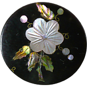 Vintage Horn button inlaid with MOP and Abalone