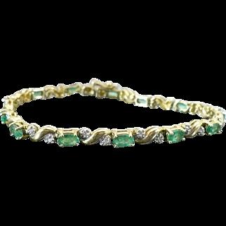 Vintage Emerald and Diamond 14 Karat bracelet