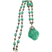 Peking glass faceted bead necklace
