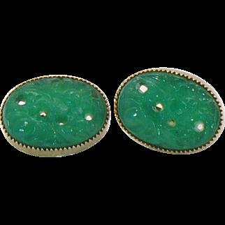 Peking glass earrings in gold tone
