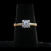 Vintage 14 karat gold Transitional cut diamond ring